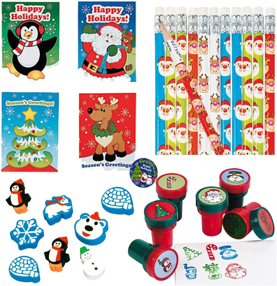 Red and Green Holiday Stampers 24- Holiday Pencils and Holiday Pin By Another Dream Holiday Erasers Happy Holidays Christmas Party Favors and Classroom Coloring Activity Pack For 12 With Christmas Coloring Books