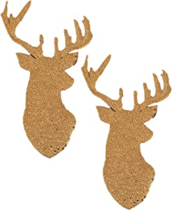 2 Pack Jumbo Christmas Deer Head Iron on Patches Sew on Embroidered Patch Sequin Appliques for DIY Motif Family Chritmas Tops Home Decor (Gold)