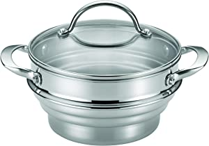Anolon Classic Stainless Steel Steamer Insert with Lid, Silver