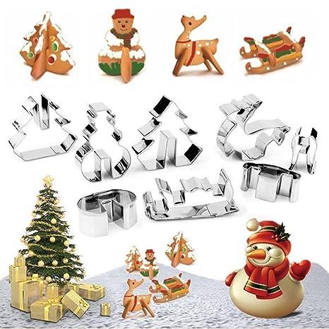 3d acero inoxidable cortadores de galletas de Navidad, árbol de Navidad, muñeco de nieve