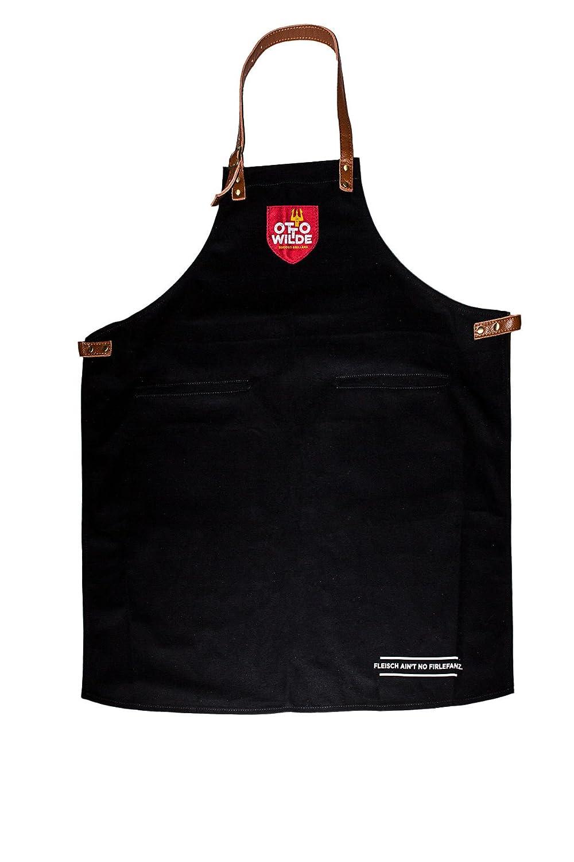 Otto Wilde Grillers Ottos Grillschürze, Grillschürze aus hochwertiger, dicker Baumwolle und echtem Leder, Kochschürze für Männer