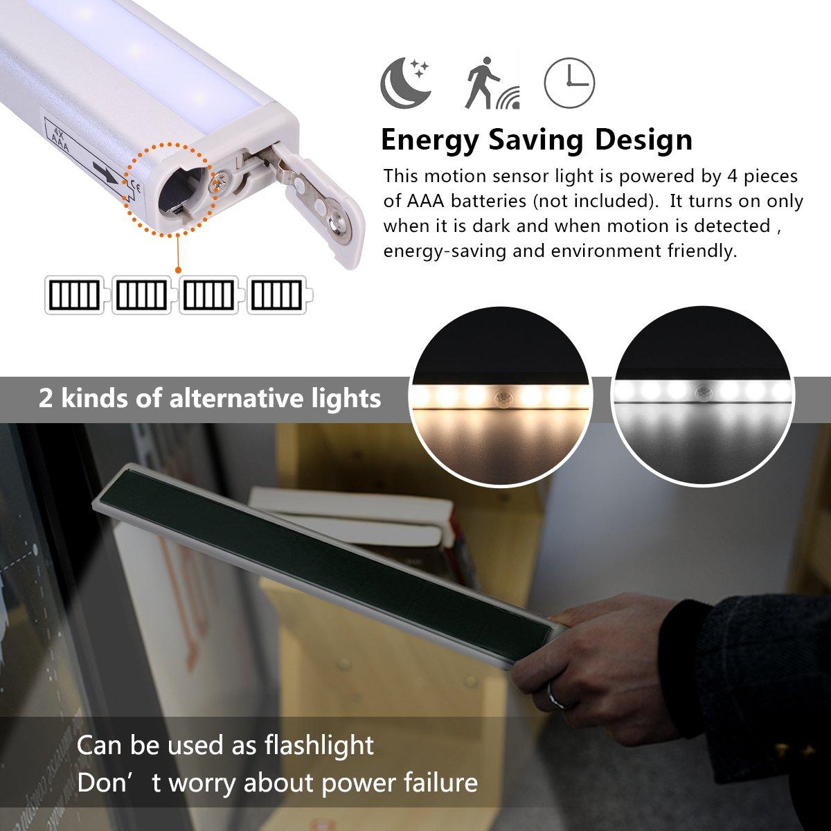 OZUAR Magnético Movimiento Sensor Luces, 10 Leds Lámpara de Pared Automática Alimentado por Batería, Pack de 2, Blanco Cálido/Blanco Frío (Plata): ...