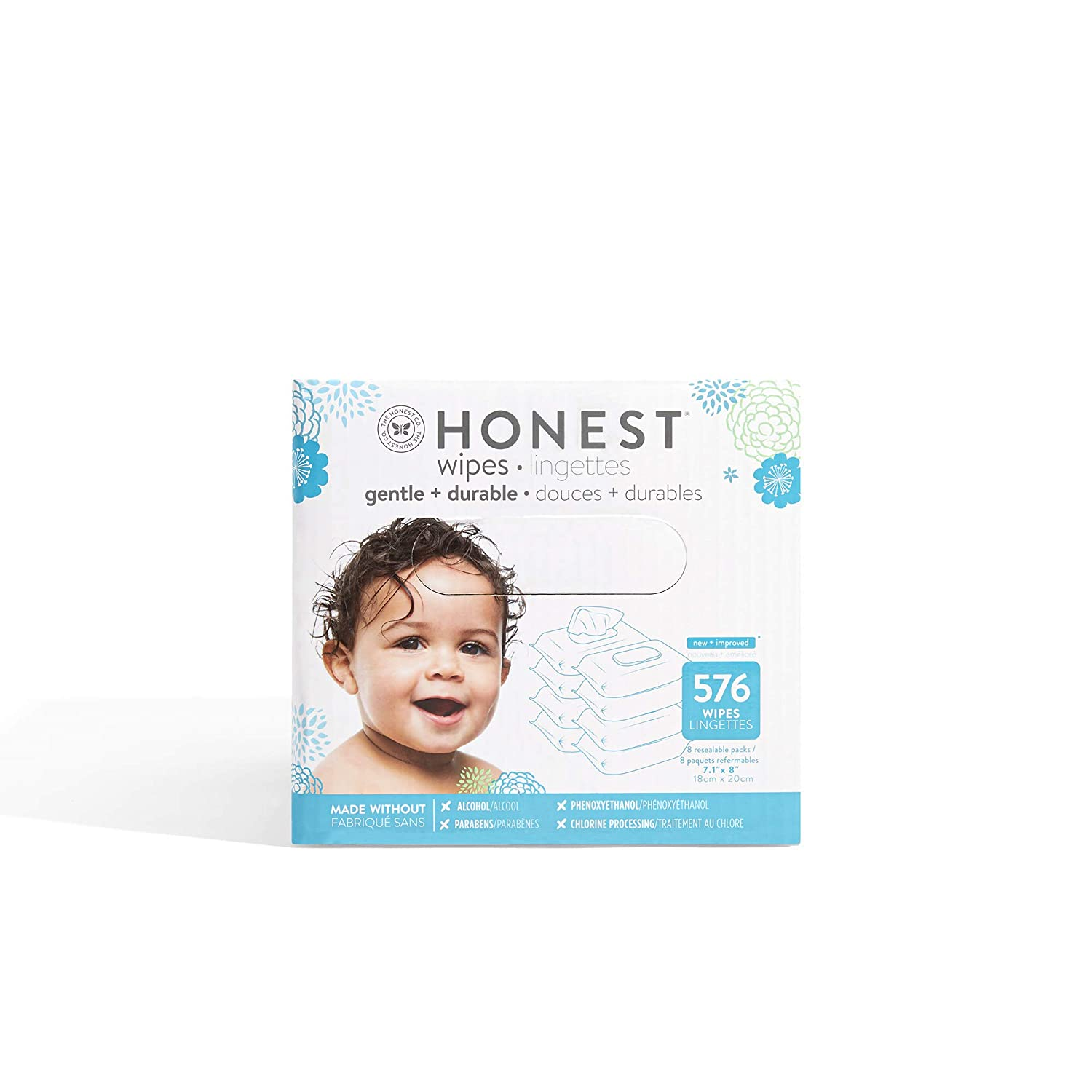 The Honest Company Designer Baby Wipes | Blue Ikat | Over 99% Water | Pure & Gentle | plant-based | alcohol, Fragrance & Paraben Free | Hypoallergenic | 576Count