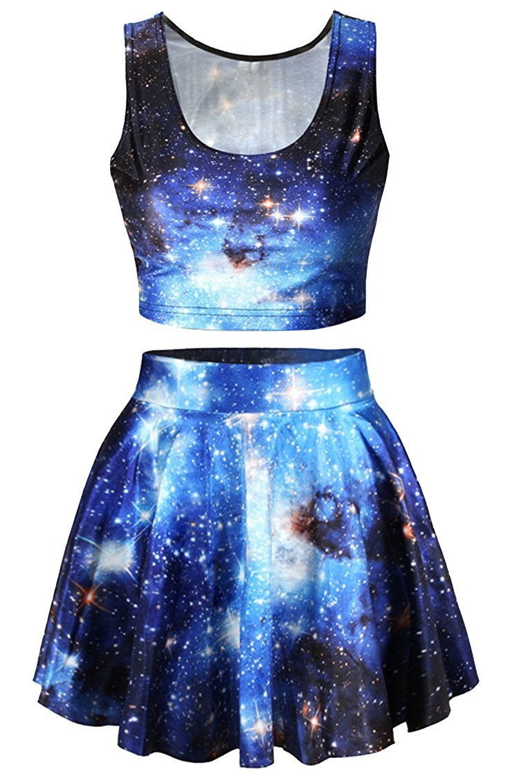 True Meaning Beautiful Galaxy Print Crop Tank Top/Pleated Skater Sskrts Set for Women