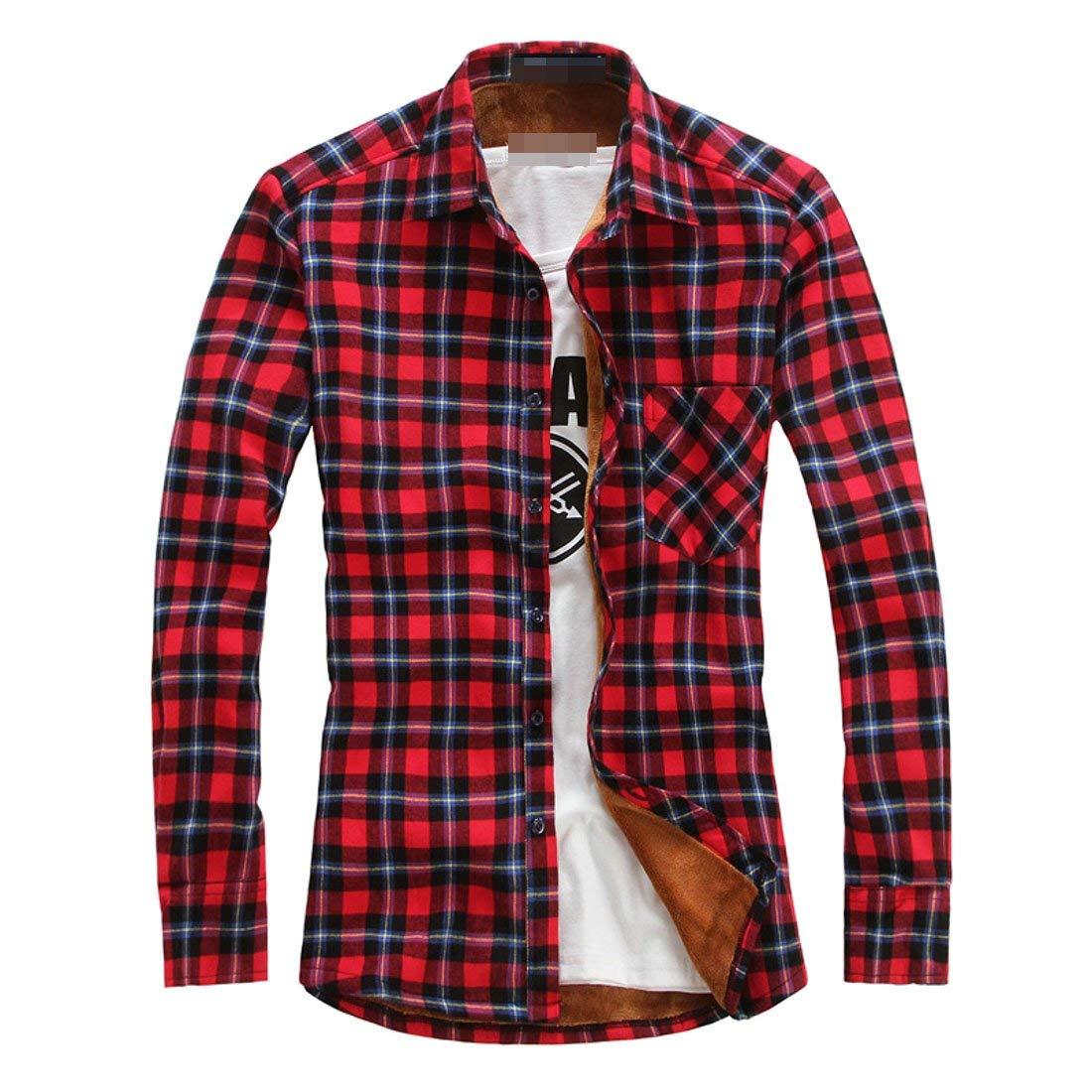 BU2H Men Multicolor Plus Size Fashion Long Sleeve Slim Fit Cotton Plaid Button Up Fleece Shirt