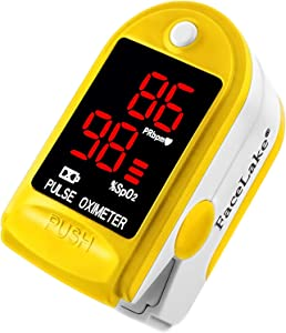 FaceLake Pulse Oximeter Blood Oxygen Saturation Monitor, Neck/Wrist Cord, Carrying Case and Batteries Included, Yellow