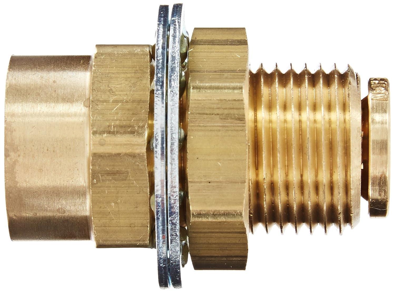 Eaton Weatherhead 1873X6X6 Brass CA360 D.O.T. Air Brake Tube Fitting, Female Bulkhead Union, 3/8' NPT Female x Tube OD