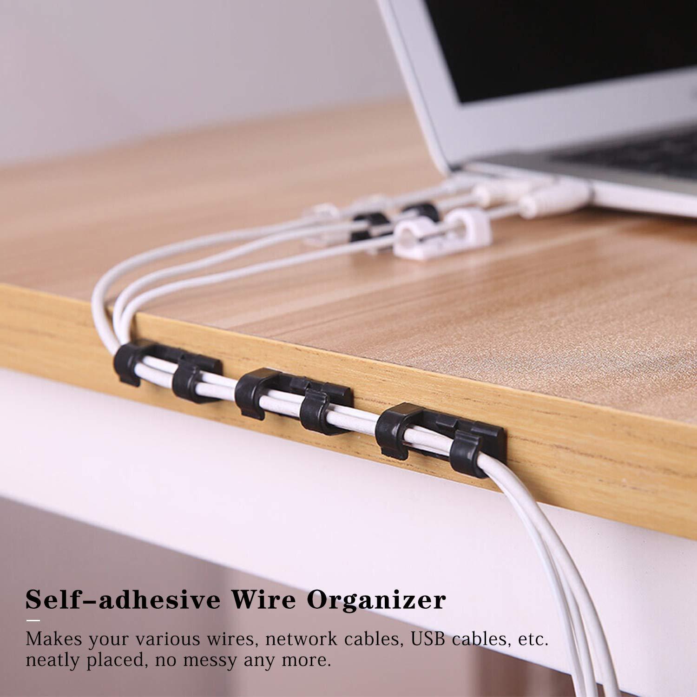 FEIGO Clips de Cable Autoadhesivo Multiusos Sujeta de Abrazaderas de Cable Adhesivo 3 m Nylon Cable Abrazadera para Cables Desordenados en Hogar, ...
