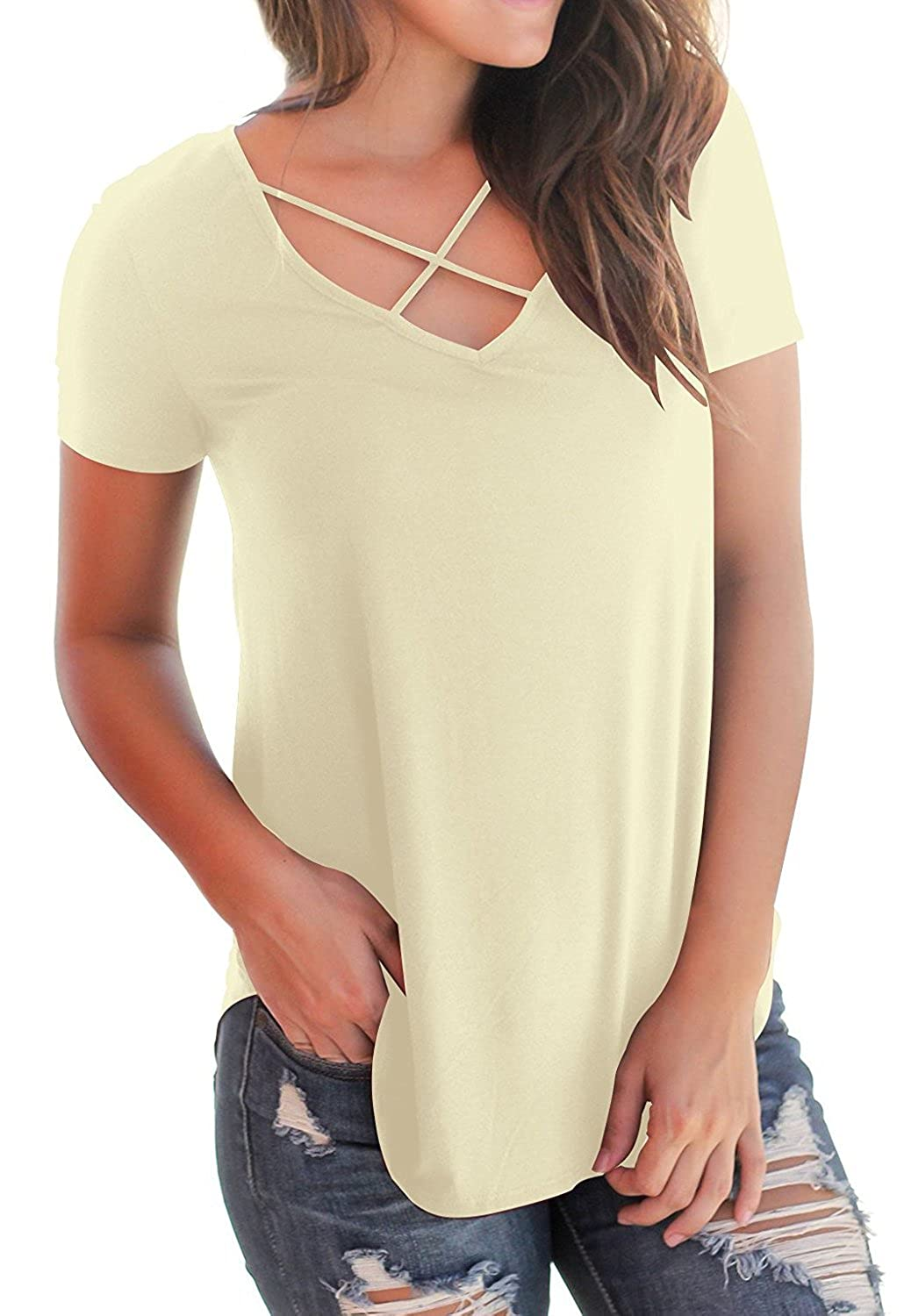 bb107ed3 YIOIOIO Women's Casual Short Sleeve Solid Criss Cross Front V-Neck T-Shirt  Blouse Tops Tunic Tee at Amazon Women's Clothing store: