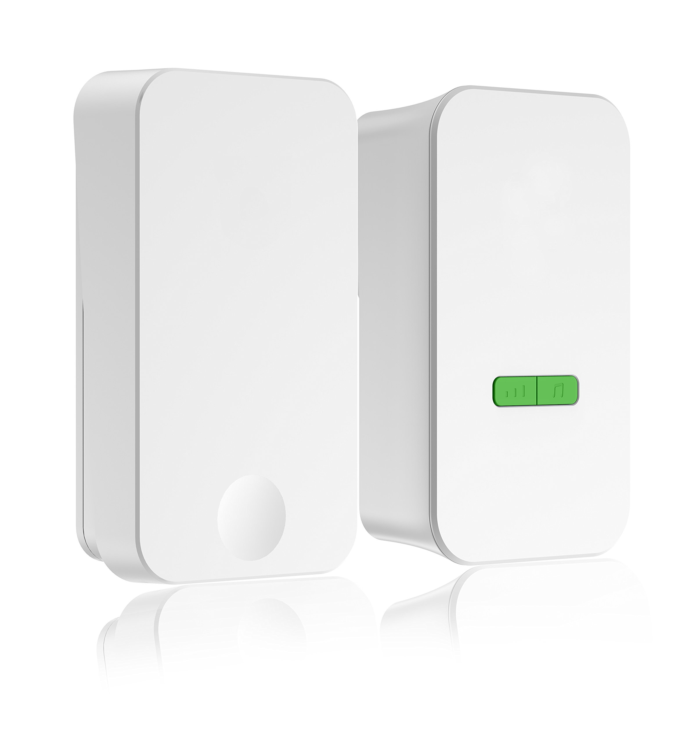 Wireless Doorbell Kit,No Batteries Required for Remote Button and Receiver,1 Remote Button and 1 Plug in Receiver with 36 Chimes, 5 Volume Levels,Operating Range at least 100 feet Indoor,White
