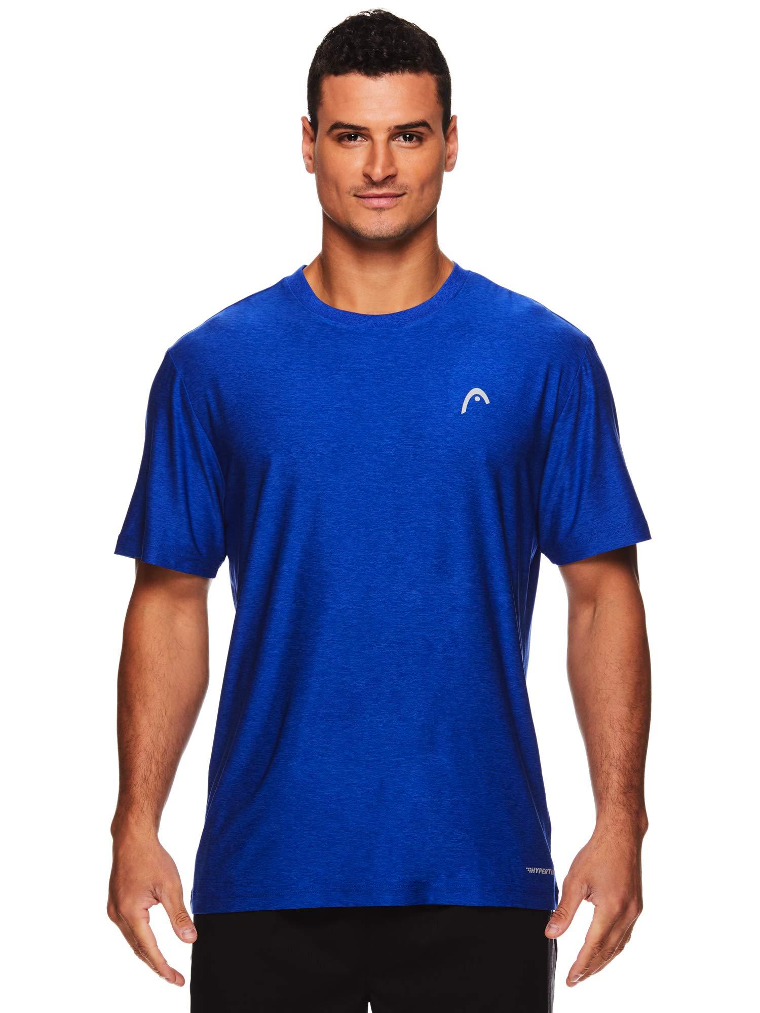 HEAD Men's Hypertek Crewneck Gym Tennis & Workout T-Shirt - Short Sleeve Activewear Top - Score Hypertek Royal Heather, Small