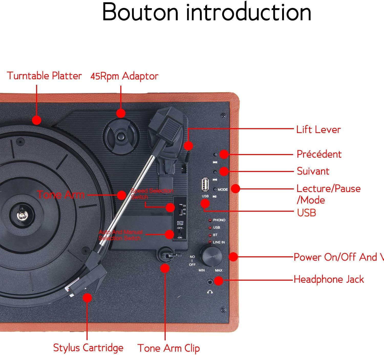 Novonova braun Automatischer USB Plattenspieler tragbarer Koffer 33//45//78 U//min Bluetooth tragbarer Koffer mit 2 integrierten Stereo-Lautsprechern