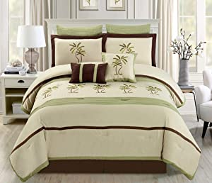 "8 Piece Oversize Sage Green / Beige / Brown Tropical PALM TREE Embroidered Luxury Comforter Set King Size Bedding 104""X94"""