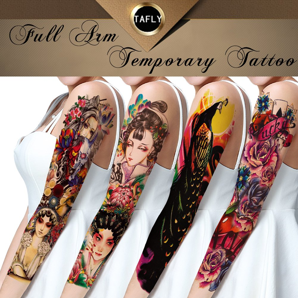 TAFLY Extra Large Full Arm Temporary Tattoos-Flowers,Peking Opera,Peacock for Women 4 Sheets
