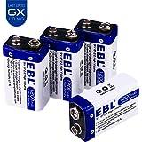 EBL Advanced 9V 1200mAh Lithium Batteries (Non-Rechargeable), 4 Packs