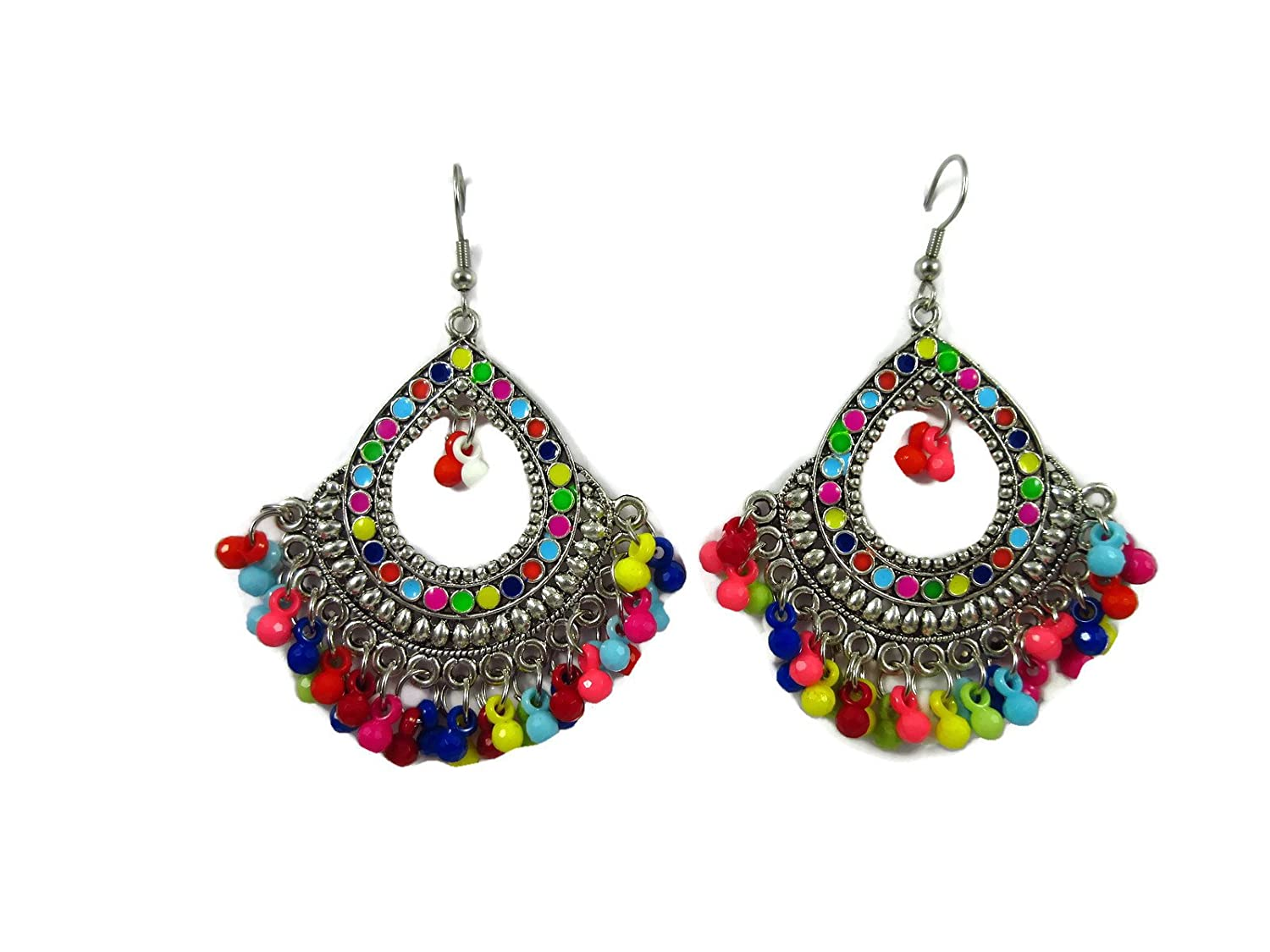 Indian Fashion Jewelry Ethnic Silver Oxidized Multi-Color Pearls Jhumka Earrings
