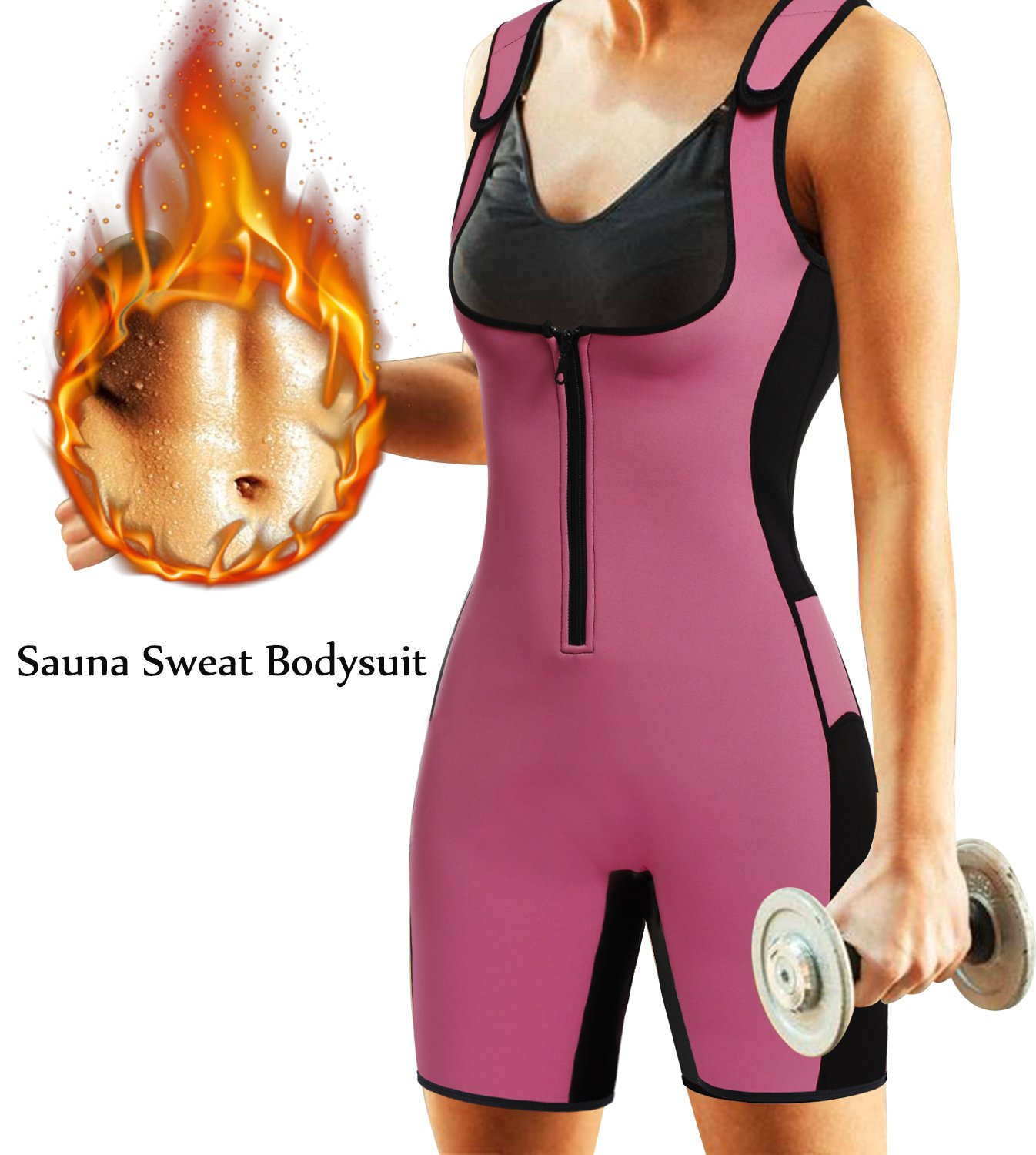 BRABIC Women's Full Body Shapewear Sport Sweat Neoprene Suit,Waist Trainer Bodysuit with Adjustable Straps for Weight Loss (S, Pink Sweat Sauna Suit)