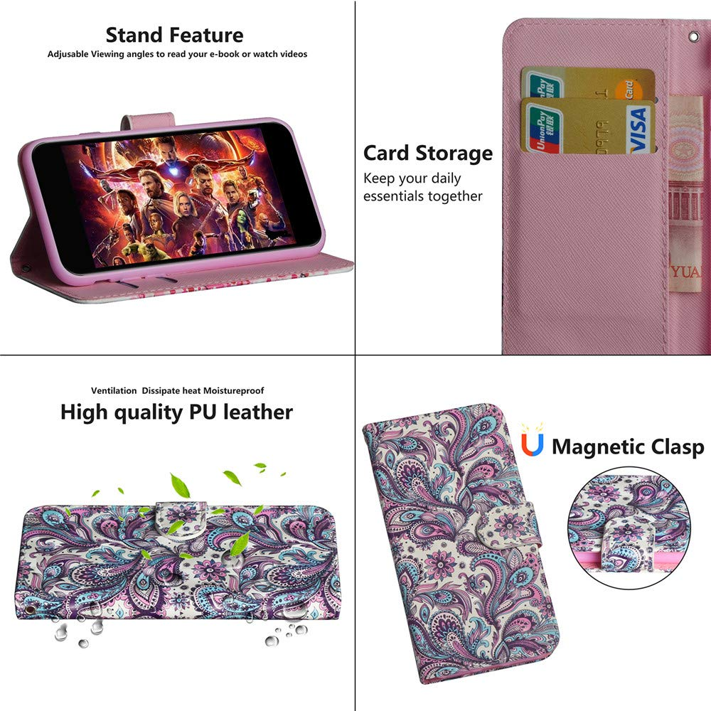 COTDINFOR Xiaomi Redmi 7A Funda Flip Cierre Magn/ético Billetera Elegante Retro Suave PU Cuero Cover Anti-ara/ñazo Carcasas para Xiaomi Redmi 7A Gray Mandala LD.