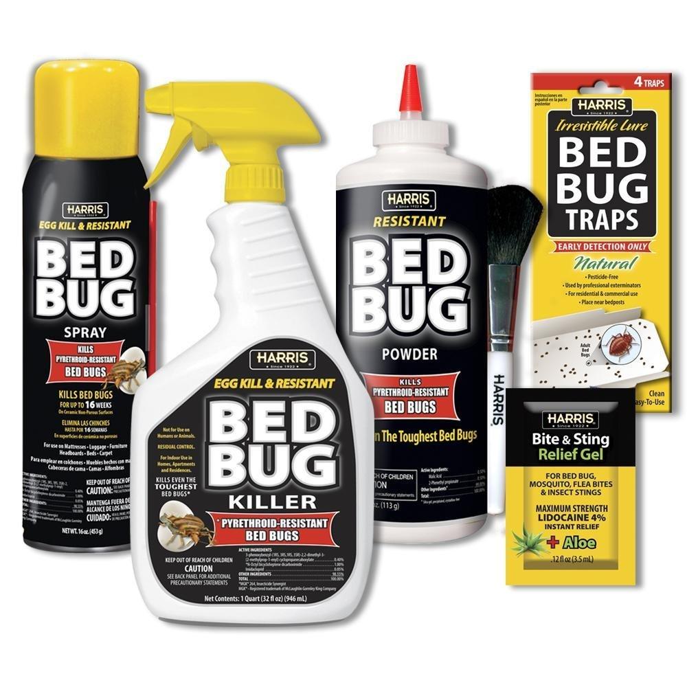 Harris Bed Bug Killer Value Bundle Kit - 32oz Bed Bug Killer, 16oz Aerosol Spray, 4oz Silica Powder w/Brush, 4-Pack Bed Bug Detection Glue Traps and Bed Bug Bite Relief Gel