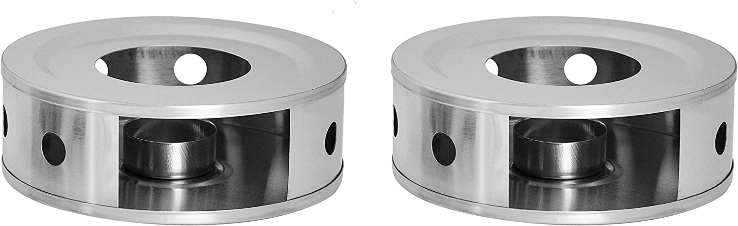 NewlineNY Stainless Steel Coffee Teapot Dish Warmers, Dual 6 Inches Circular Herb Tea Light Candle Warmer, 2 in 1 Set (Candle not included)