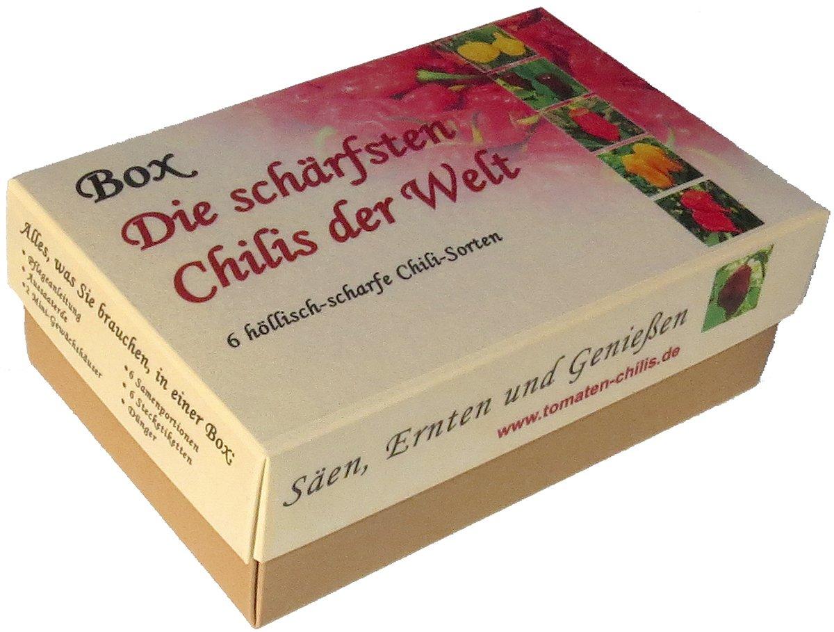 Box - Die schä rfsten Chilis der Welt - Anzuchtset - Sä en, Ernten und Genieß en - Das ultimative Geschenk fü r Chili Fans!