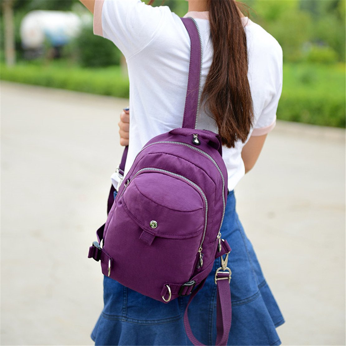 TianHengYi Womens Lightweight Small Nylon Backpack Casual Strong Mini Backpack Multipurpose Daypack for Girls Cycling Hiking Camping Travel Outdoor Disneyland Deep Purple