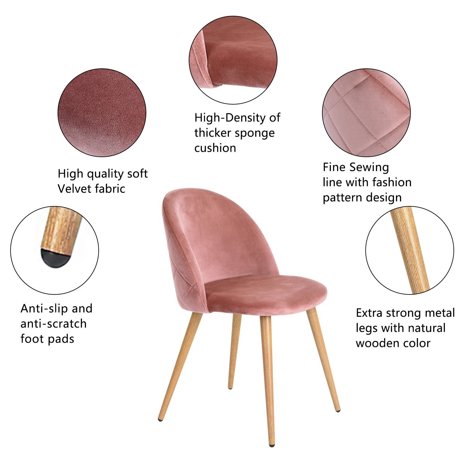 GreenForest Velvet Dining Chairs for Living Room, Modern Accent Leisure Upholstered Chairs Mid Century, Side Chairs Metal Legs with Wood Pattern, Mid-Back Support Pink Chairs, Set of 2 Rose