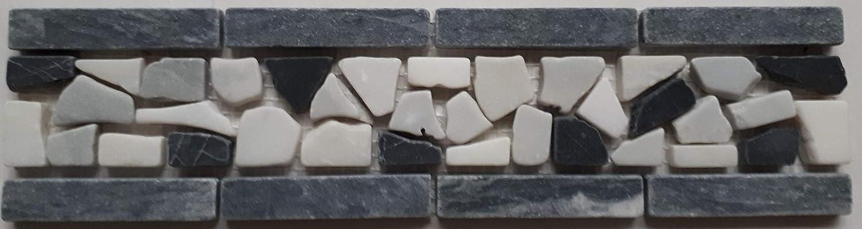 Frise en mosa/ïque en marbre italien Bianco Carrara 30 x 7,5 cm