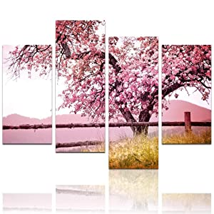 "LevvArts Plum Tree Blossom Art,Spring Flowers Canvas Print for Home Wall Decor,Framed,4 Panels Cherry Blossom Wall Art, 48"" W x 32"" H Overall"