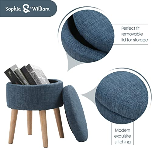 Sophia William Round Storage Ottoman Footrest Stool with Removable Lid Side Table Seat Padded Linen with Wood Legs Upholstered for Living Room, Bedroom Kids Room-Midnight Navy