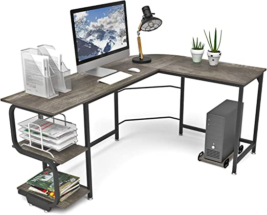 Amazon Com Teraves Reversible L Shaped Desk With Shelves Round