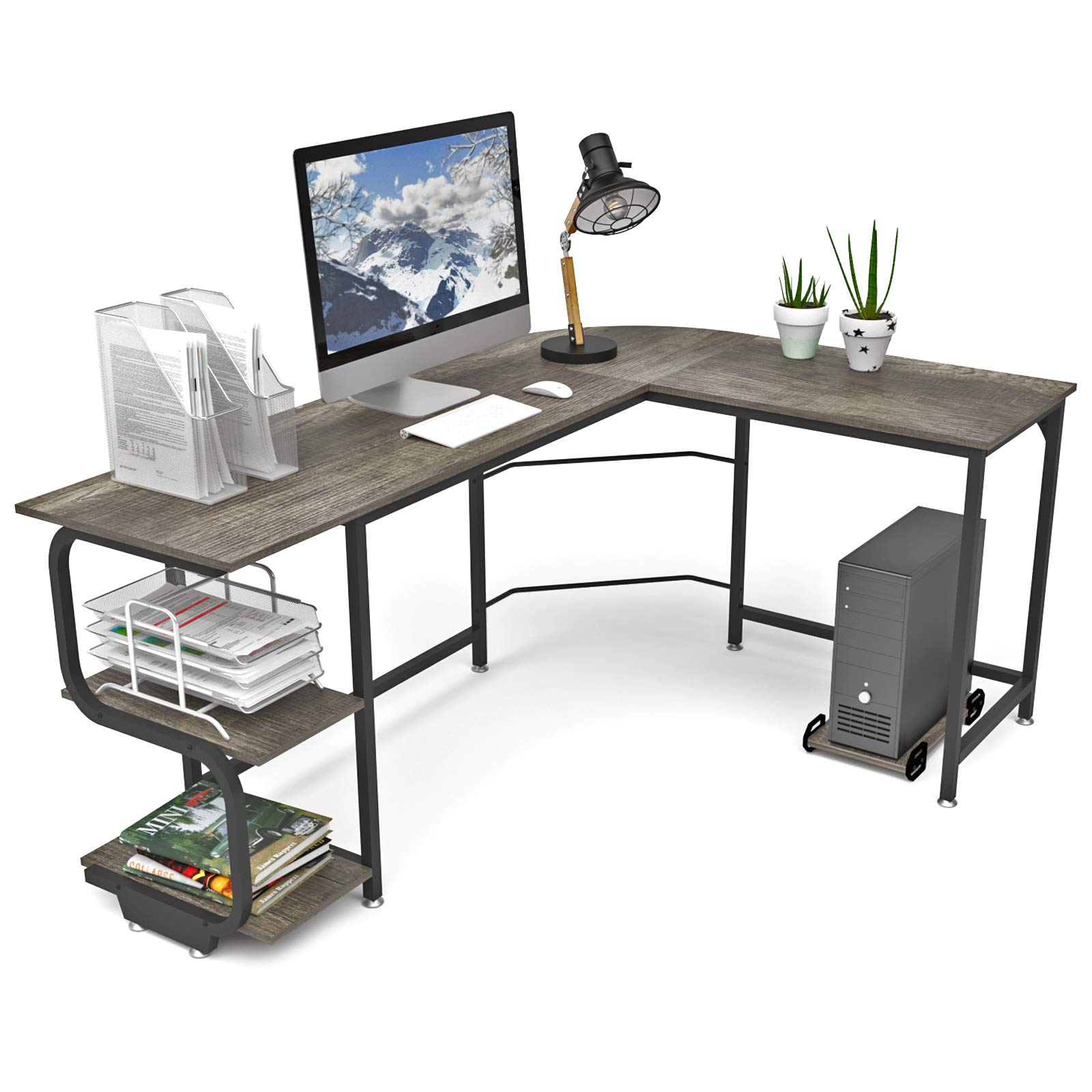 Teraves Reversible L Shaped Desk with Shelves Round Corner Computer Desk Gaming Table Workstation for Home Office by Teraves