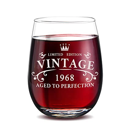 1968 50th Birthday Gifts For Men And Women Stemless Wine GlassFunny Novelty 15 Oz