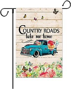Weimaro Spring Garden Flag, Spring Summer Welcome Garden Flag, Country Roads Take Me Home Flag, Farm House Yard Seasonal Outdoor Décor, Farm House Welcome Outdoor Burlap Garden Flag, 12.5 x 18 Inch