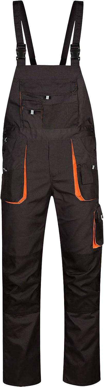 Dark Grey//Black//Orange DINOZAVR Atlas Mens Work Bib and Brace Overalls Heavy-Duty