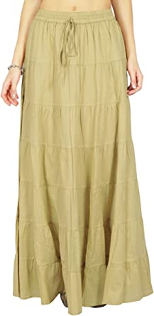 Phagun Falda Larga para Mujer de Falda Larga de algodón con gradas ...