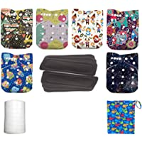 WO-WA (6 Diapers +6 Inserts +1 Wet Bag +1 Roll of Liners) Pocket Diaper Baby Snaps Cloth Diapers Nappy Suitable for Baby…