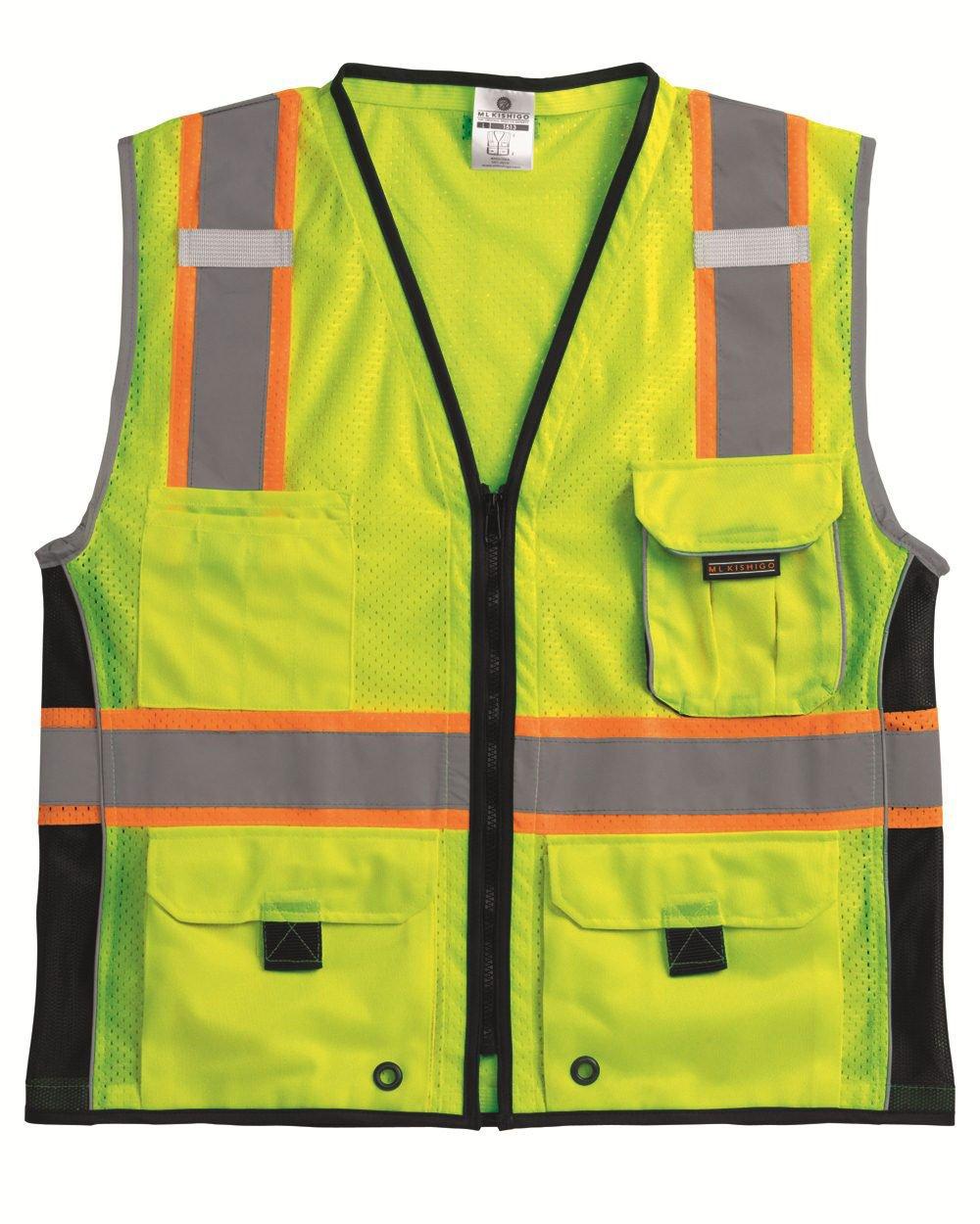 ML Kishigo 1513 Ultra-Cool Polyester Black Series Heavy Duty Vest, Large, Lime by ML Kishigo
