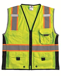 ML Kishigo 1513 Ultra-Cool Polyester Black Series Heavy Duty Vest, Extra Large, Lime