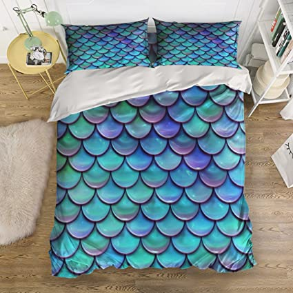 Tu0026H Home Mermaid Fish Scales Bedding Duvet Cover Set,4 Piece Suit Queen Size