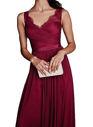 Now&Forever V Neck V Back Lace Straps Ruch Prom Evening Dress with Belt(burgundy,