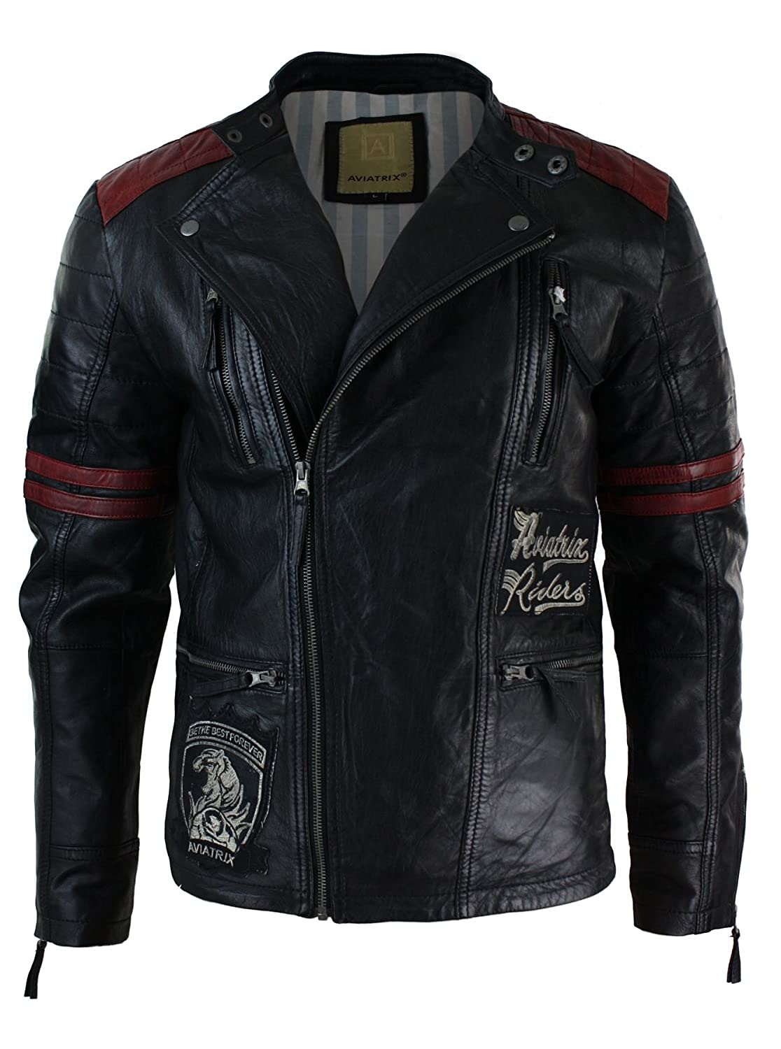 Mens Black Retro Leather Cross Zip Biker Racer Casual Fitted Badge Jacket