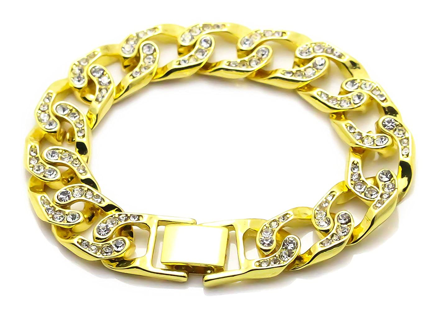 Xusamss Hip Hop Stainless Steel Crystal Wristband Bangle Chain Bracelet, 8.0inches JHKsz766-Gold