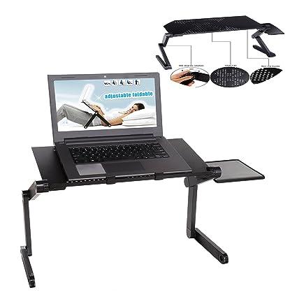 Soporte para portátil, diseño ergonómico para ordenador portátil escritorio portátil ajustable mesa bandeja plegable para ordenador ...