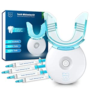 Neitra Teeth Whitening Kit with LED Light, 10 Min Fast Teeth Whitening Results, (4) 3ml No Sensitive Whitening Gel, 5LED Teeth Whitener Accelerator, Teeth Whitening Kit at Home(Sensitive Series)