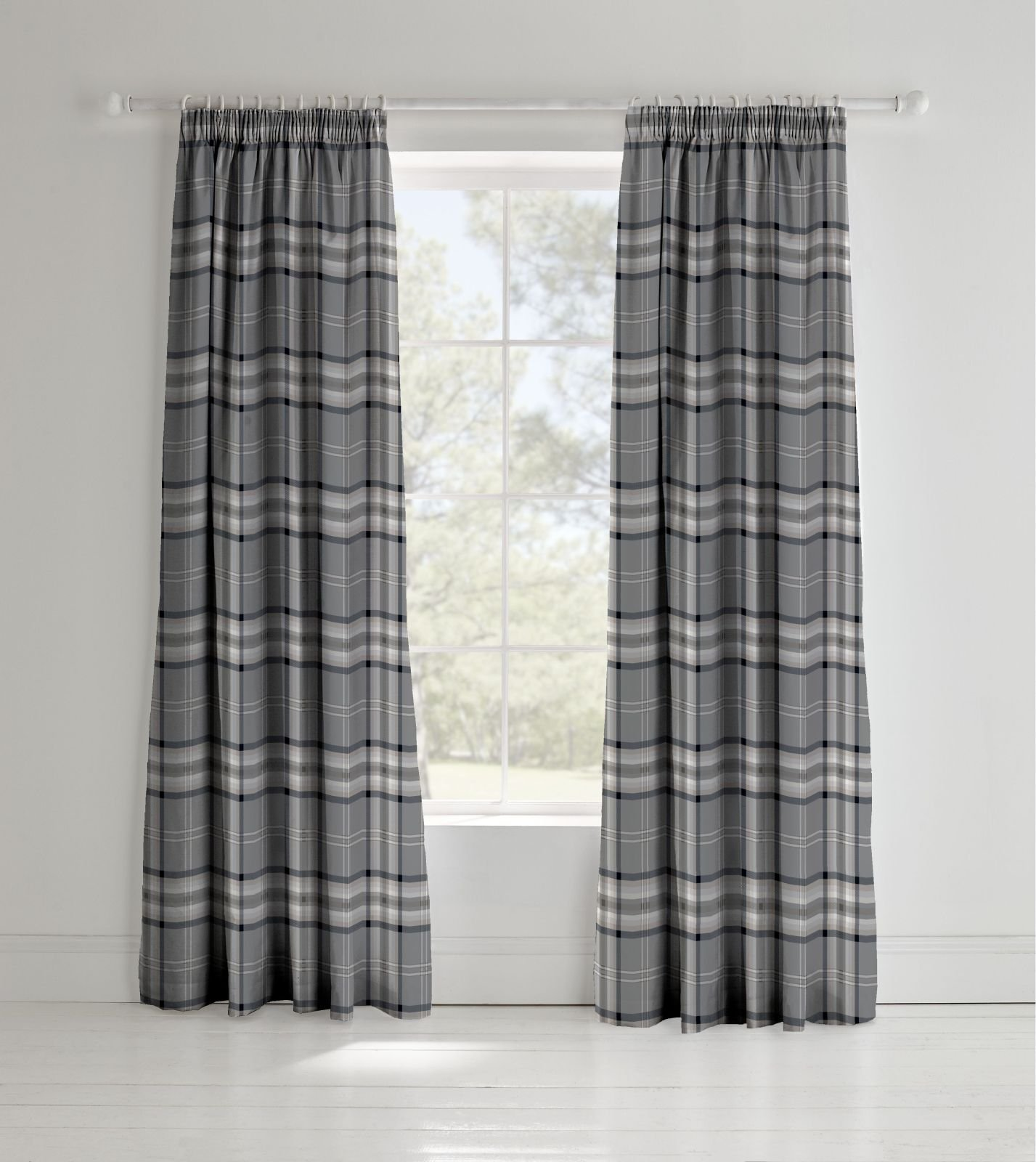 Catherine Lansfield Kelso Easy Care Pencil Pleat Curtains Charcoal 66x72 Inch