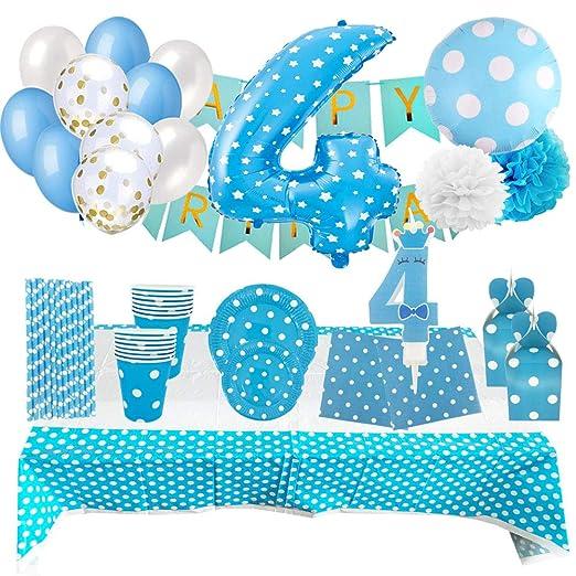 Set de Artículos Accesorios Completo para Decoración Fiestas Cumpleaños Bebé Lote Sirve 16 Invitados (Niño de 4 años)