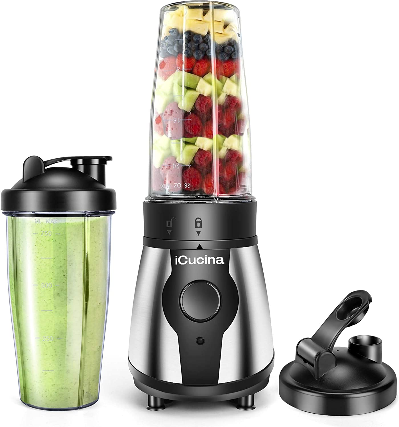 Icucina 300 Watt Personal Portable Bullet Blender for shakes and smoothies| Easy Clean Shake Blender with One-Button Operation |28 Ounce Blender Cups with To-Go Lids