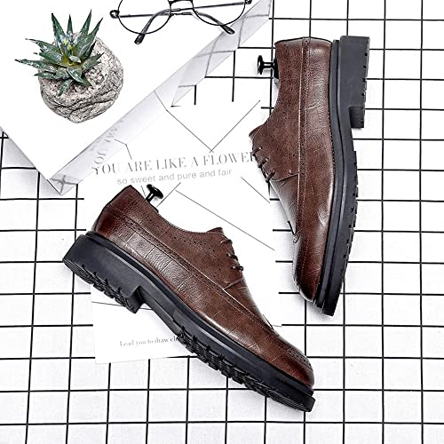 MXL Mens Business PU Leather Shoes Classic Lace Up Loafers Square Texture Strong Outsole Oxfords