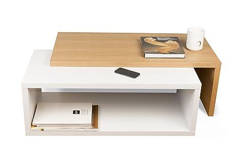 TemaHome Jazz Tavolino da Salotto, Legno, Rovere/Bianco, 90x45x18 cm ...